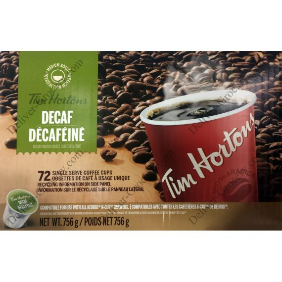 Tim Hortons Decaffinated Café, 72 tasses, 756 g