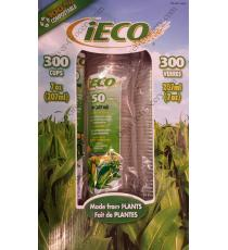 iECO Compostable Cups, 6 packs, 300 cups 207 ml
