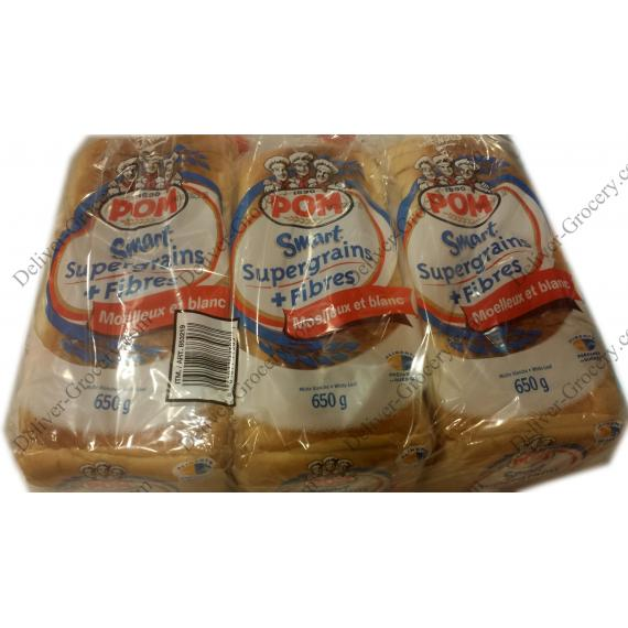 POM Smart Super Grains White Bread, 3 packs x 650 gr