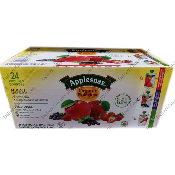 Applesnax Organique d'un Assortiment de Fruits Collations, 24 x 90 ml