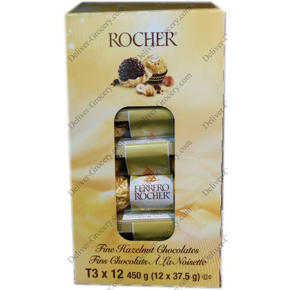 FERERRO ROCHER T3 Fine Hazelnut Chocolates, 12 x 37.5 g
