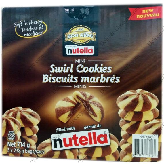 BON APPE Nutella Mini Swirl Cookies, 3 x 238 gr