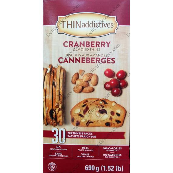 THIN Addictives Cranberry Almond Thins, 30 packs x 23 g, 690 g
