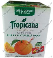 Tropicana Homestyle Orange Juice, a little pulp, 4 x 1.89 L