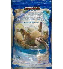 Kirkland Signature Frozen Chemical-free 31-40 Tail-on Raw Shrimp 907 g