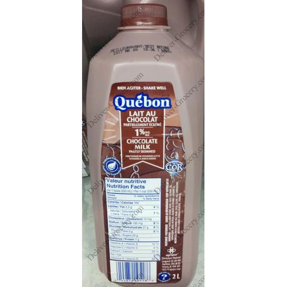 Quebon Partly Skimmed Chocolate Milk 1%, 2 L