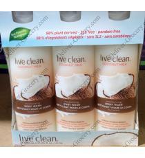 Live Clean Coconut Milk Moisturizing Body Wash, , 3 x 500 ml