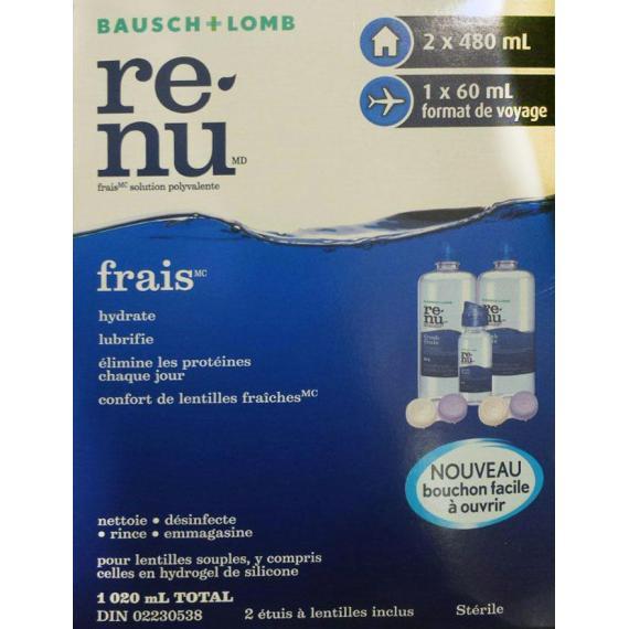 re-nu Fresh Multi-Purpose Solution, 2*480 ml + 60ml