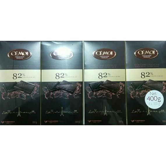 Cémoi Dark Chocolate 82%, 4 x 100 gr