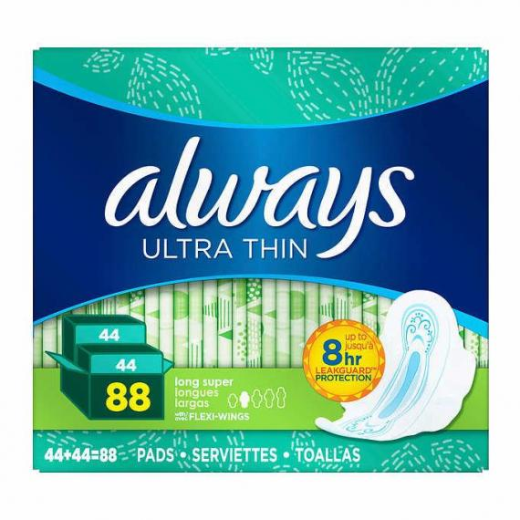 Always Ultra Thin Long Pads, 2-pack of 44