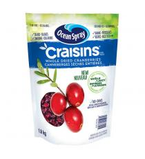Ocean Spray Crainsins Whole & Juicy Dried Cranberries, 1.8 kg