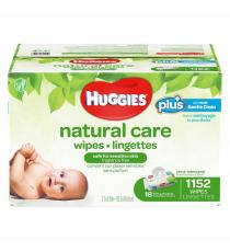 Lingettes Huggies Natural Care Plus, paquet de 18 de 64