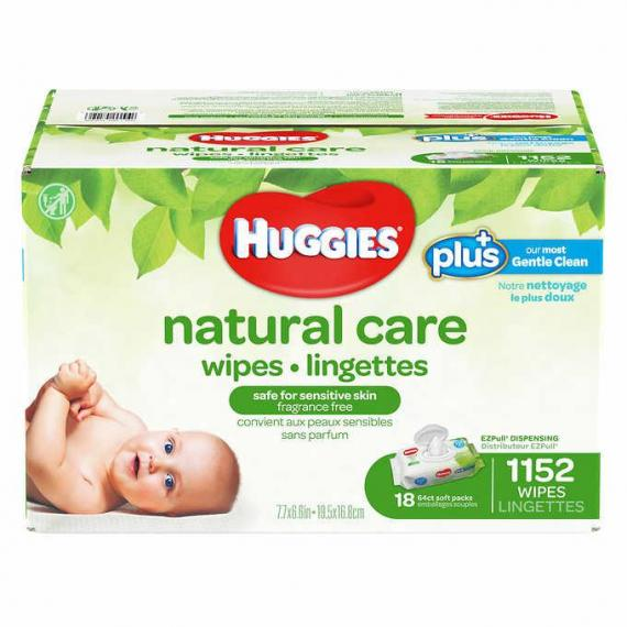 Huggies Natural Care Plus Wipes, 18-pack of 64