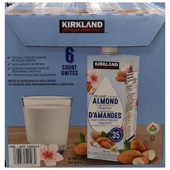 KIRKLAND SIGNATURE Organic Original Almonds, 6 x 946 ml