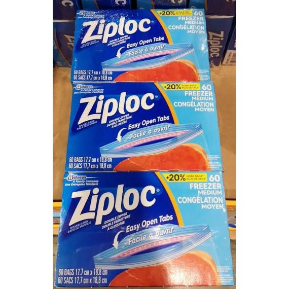 Ziploc 3x60 Medium Freezer Bags