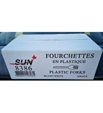SUN 8386, Fourchette en plastique, blanc, paquet de 1000 unités
