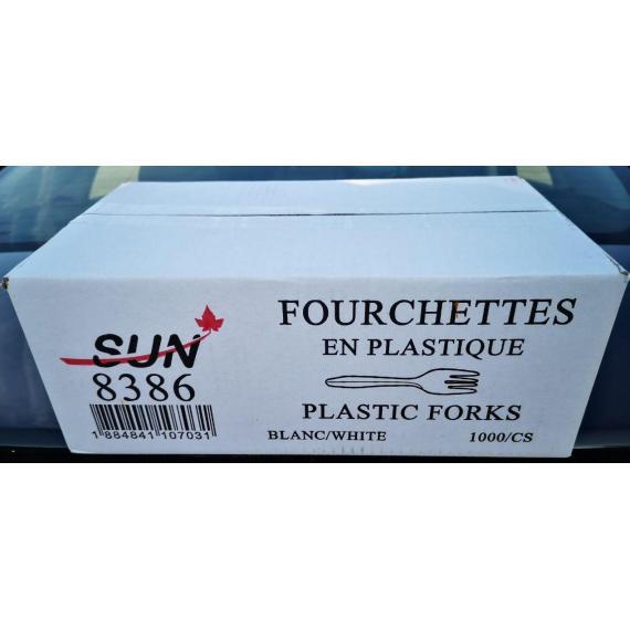 SUN 8386, Plastic fork, white, Pack of 1000 units