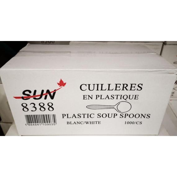 SUN 8388, cuillère à soupe en plastique, blanc, 1000 unités