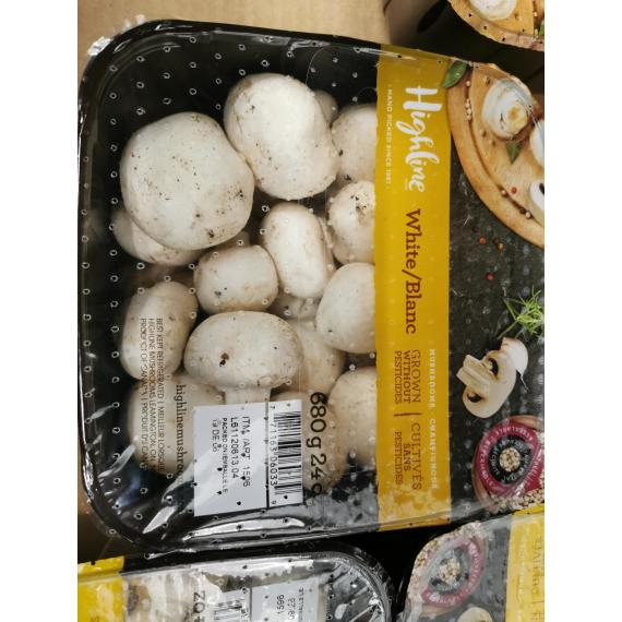 Highline Mushrooms Whole White Mushrooms, 680 g