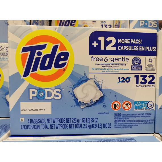 Tide Free and Gentle Laundry Detergent Pack, 132 pods, 3 kg