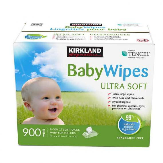 Kirkland Signature Ultra-soft Tencel Baby Wipes 9 packs of 100