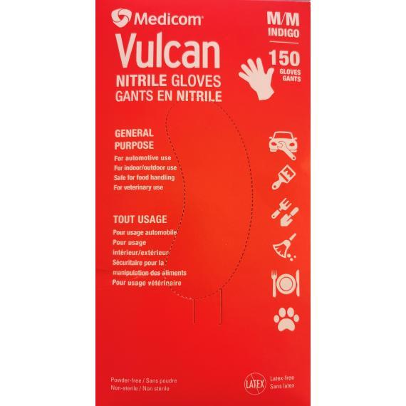 Medicom Vulcan Nitrile Gloves, Medium, Pack of 150