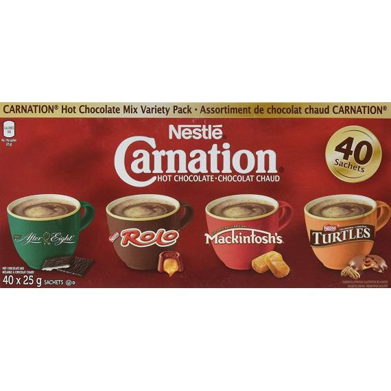 Nestle Carnation Hot Chocolate Mix Variety Pack After Eight, Rolo, Mackintosh's, Turtles 40 Count