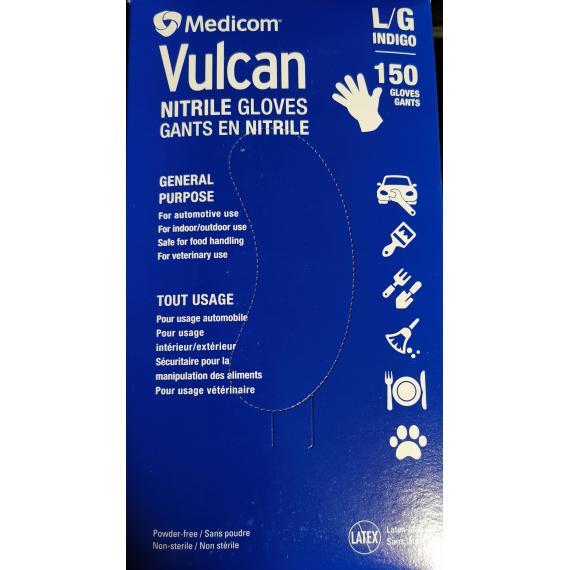 Medicom Vulcan Nitrile Gloves, Large, Pack of 150