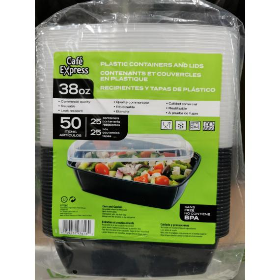 Plastic Containers and Lids, 38 oz, 50 items (25 containers, 25 lids)