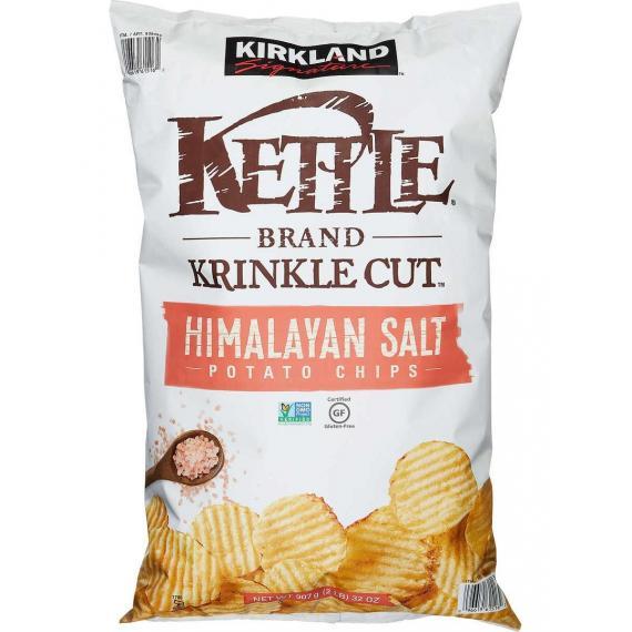 Kirkland Signature Kettle Brand Krinkle Cut Potato Chips Himalayan Salt 907 g