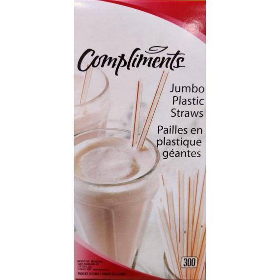 Compliments Jumbo Plastic Straws - 300 pack