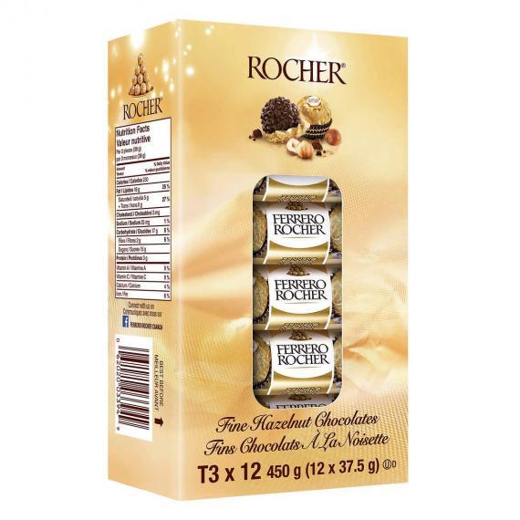 FERRERO ROCHER T3 Beaux-Noisette Chocolats, 12 x 37,5 g