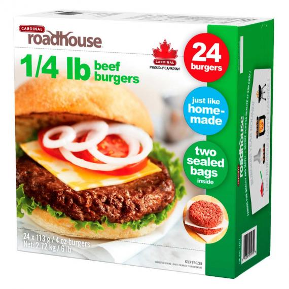 Cardinal Frozen Roadhouse Beef Burgers 24-count