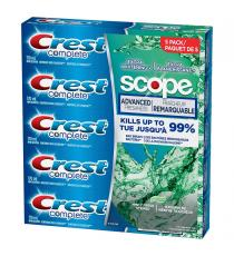 Crest Complete Extra Whitening with Scope Toothpaste, 5-count, 170 mL per toothpaste