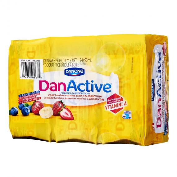 DANONE DAN ACTIVE Drinkable Probiotic Yogurt 1.5%, 24 x 93 ml