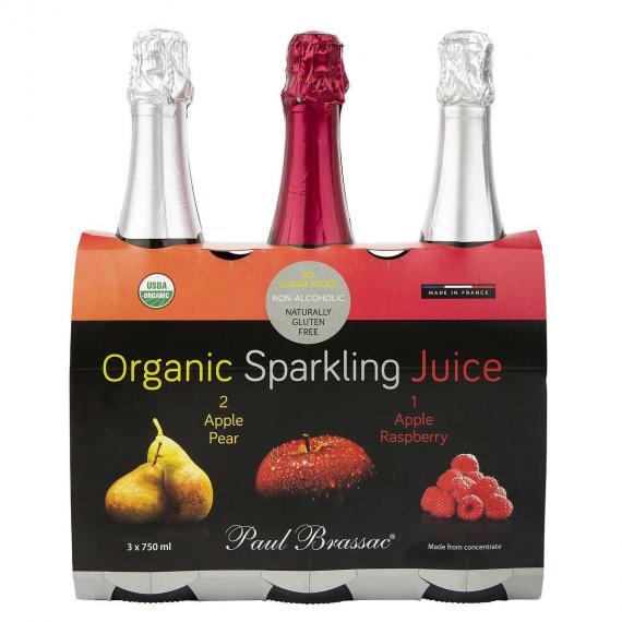 Paul Brassac Organic Sparkling Juices, 3 x 750 ml