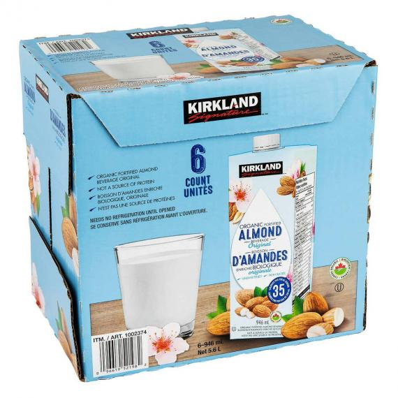 KIRKLAND SIGNATURE Organic Original Almonds, 6 x 946 ml