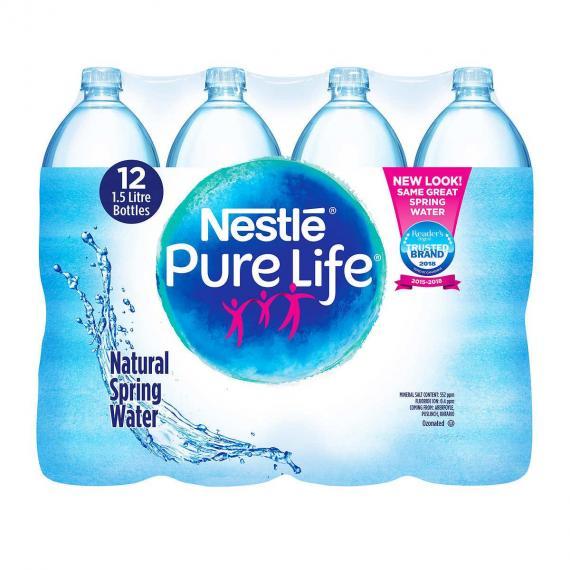 Nestlé Pure Life De 100% d'Eau de source Naturelle 12 x 1,5 L