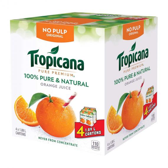 Tropicana d'Origine de Jus d'Orange, 4 x 1.89 L