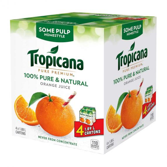 Tropicana Homestyle Orange Juice, a little pulp, 4 x 1.89 L