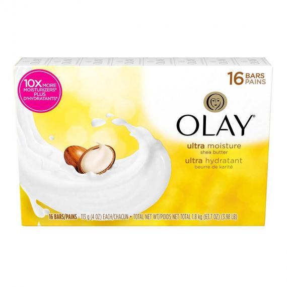 OLAY Ultra Moisture Shea Butter Beauty Bar Soap, 16 × 113 g