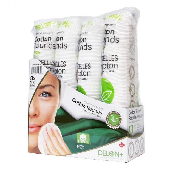 Delon+ Premium Cosmetic Cotton Rounds, 8-pack of 100