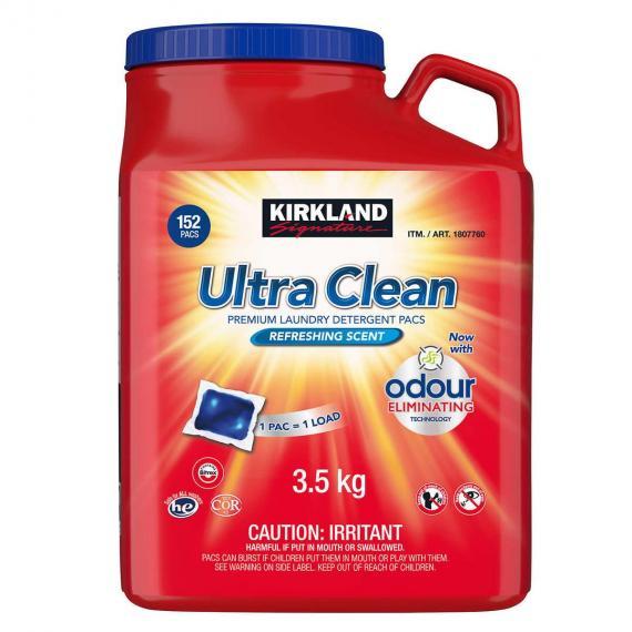 Kirklnad Ultra Clean Détergent à Lessive Pack, 152 gousses, 3,5 kg