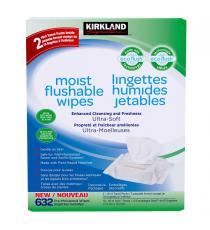 Kirkland Signature Moist Flushable Wipes, pack of 632