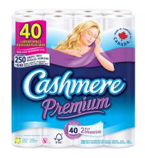 Cashmere Premium 2-ply Bathroom Tissue, toilet paper, 40-pack