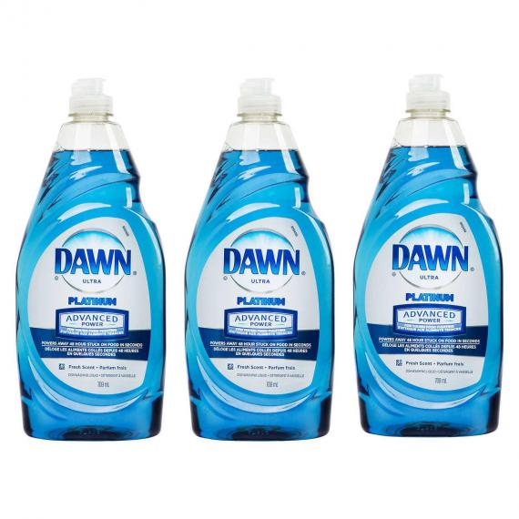 Dawn Ultra Platinum Advanced Power Dishwashing Liquid, 709 mL, 3-pack