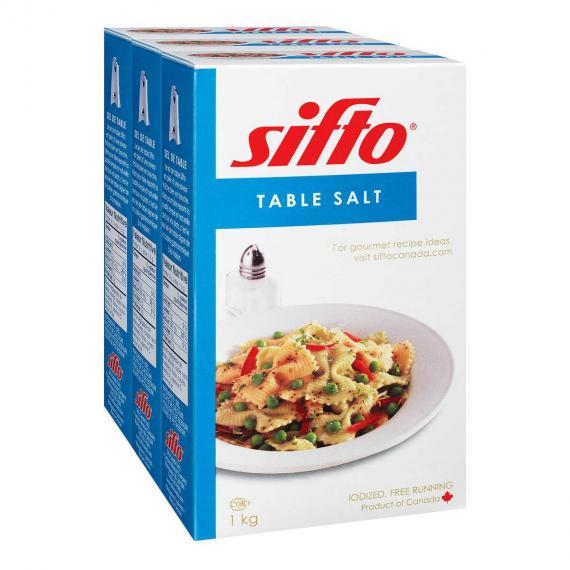 Sifto Table Salt, 3 x 1 kg