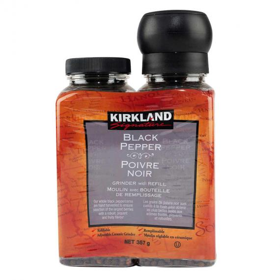 Kirkland Signature Black Pepper with Grinder and Refill, 357 g