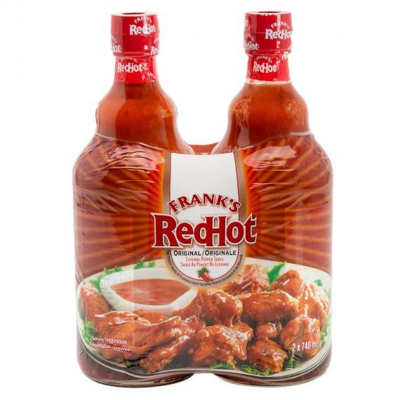 Frank's Red Hot Cayenne Pepper Sauce, Original, 740 mL, 2-pack