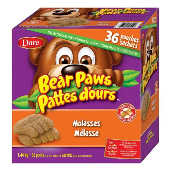 Dare Bear Paws Molasses Soft Baked Cookies 36 × 40 g